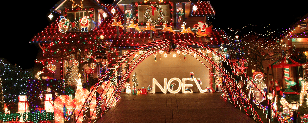 various christmas decorations displayed on a garage